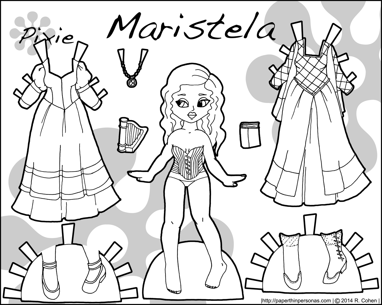 dress up paper doll a purple princess paper doll named maristela paper thin paper dress up doll