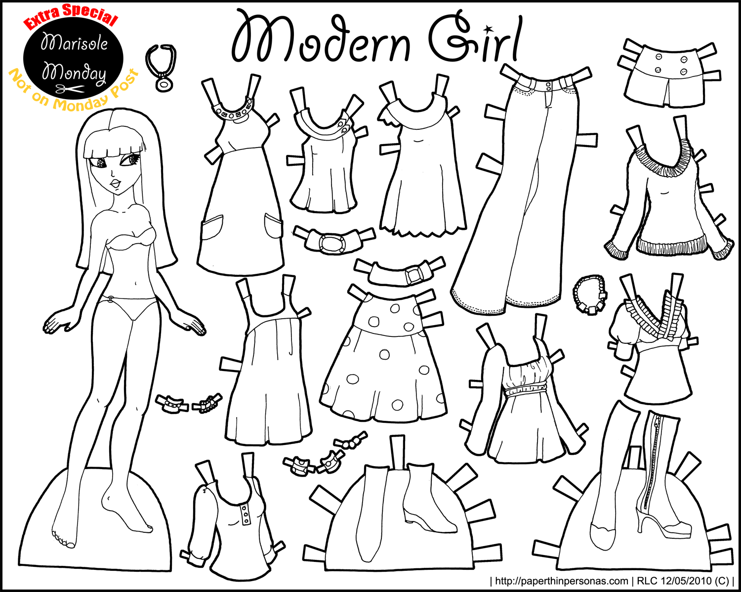 dress up paper doll marisole monday modern girl in black white coloring doll paper up dress