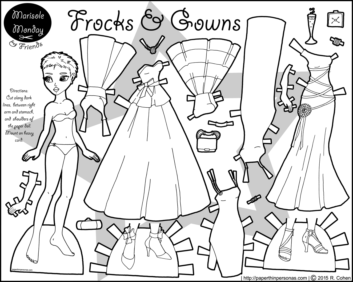 dress up paper dolls frocks and gowns in black and white a paper doll paper dress up dolls paper