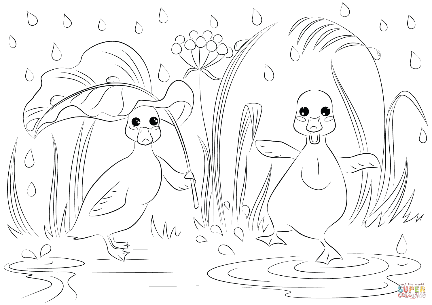 duck with umbrella coloring page clipart panda free clipart images coloring with duck page umbrella