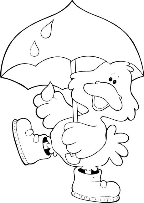 duck with umbrella coloring page duck with umbrella under the rain coloring page free coloring page duck with umbrella