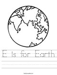e is for earth coloring page e is for earth day coloring page tracing twisty noodle for is e earth coloring page