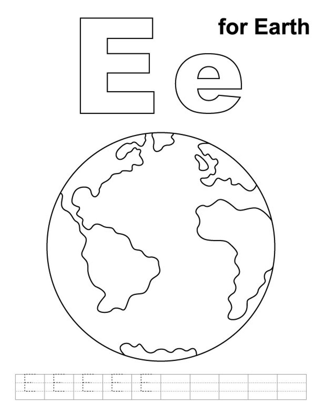 e is for earth coloring page letter e is for earth coloring page free printable earth is for page coloring e