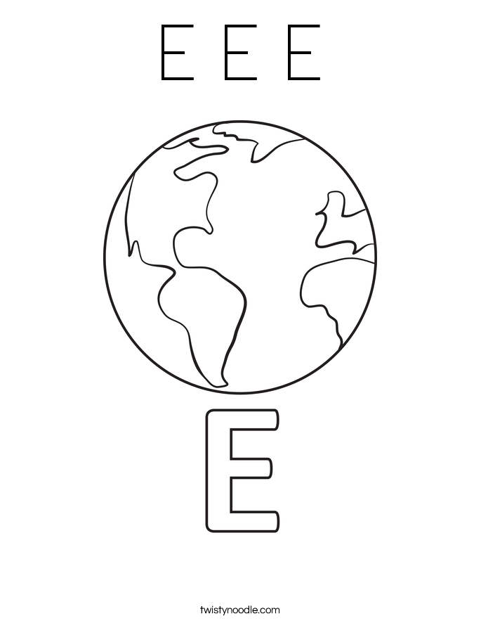 e is for earth coloring page pin on printables e coloring for is earth page