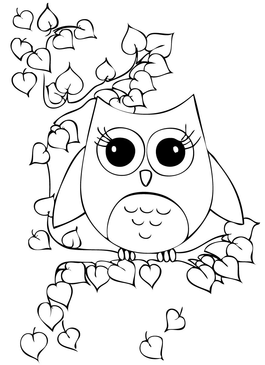 easy cute owl coloring pages cute owl coloring page free printable coloring pages coloring cute owl pages easy