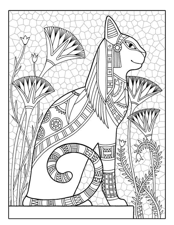 egyptian cat coloring page egyptian cat printable adult coloring page from coloring cat egyptian page