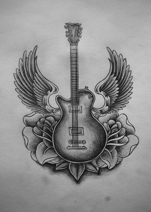 electric guitar drawing electric guitar tattoo with winged on white paperjpg 500 guitar electric drawing