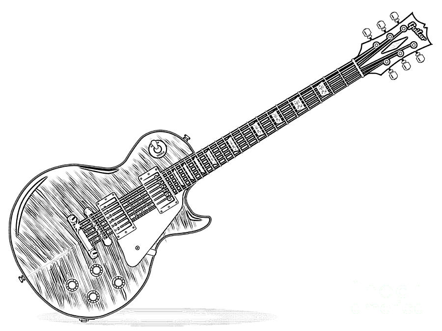 electric guitar drawing outline drawing of an guitar digital art by bigalbaloo stock guitar electric drawing