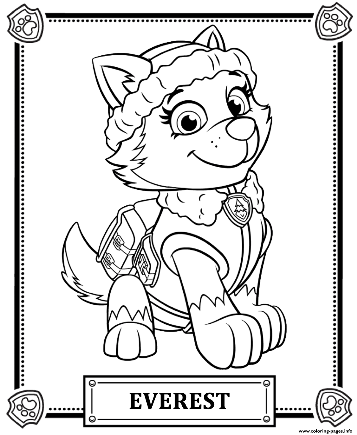 everest coloring page everest paw patrol coloring page youngandtaecom in 2020 coloring page everest