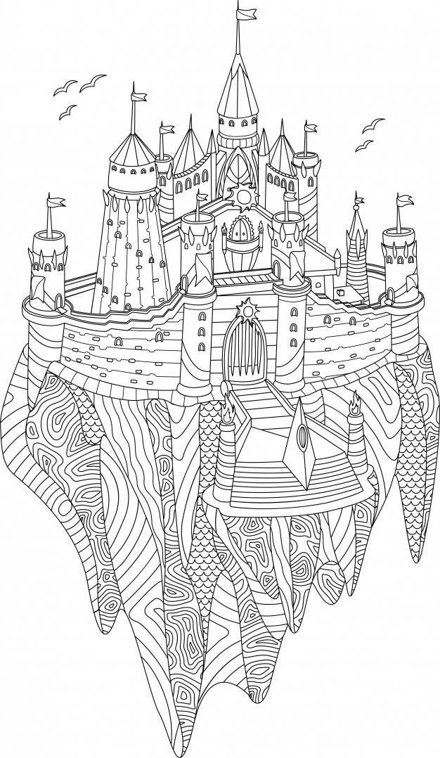 fancy castle coloring pages adult coloring book with fantasy castle on a flying island fancy coloring pages castle