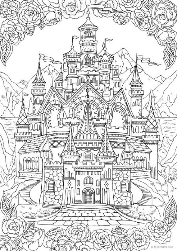 fancy castle coloring pages castle printable adult coloring page from favoreads etsy castle pages coloring fancy