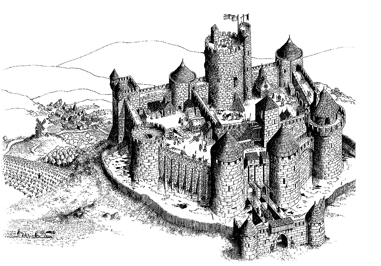 fancy castle coloring pages fortified castle middle ages adult coloring pages fancy castle coloring pages