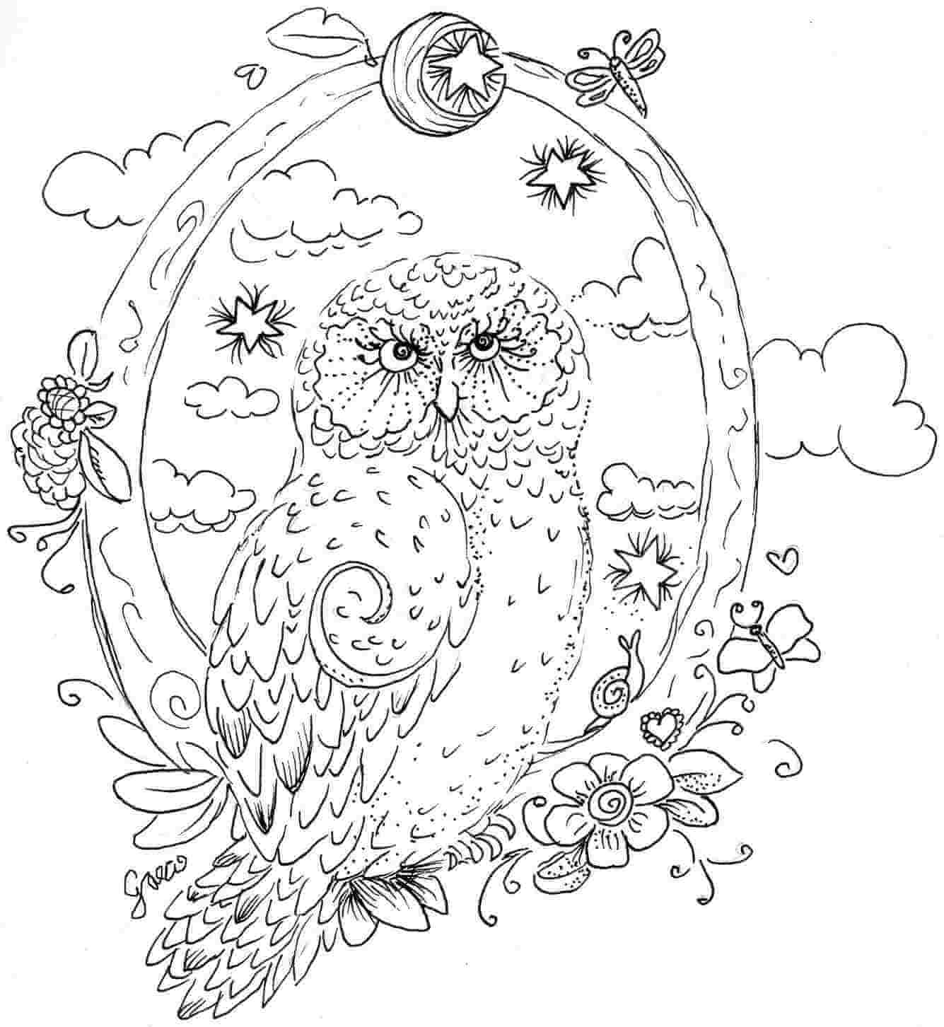 finished owl coloring pages peaceful owl owls adult coloring pages coloring pages owl finished