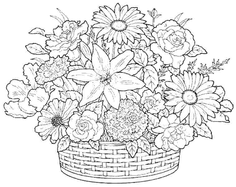 flower bouquet coloring page detailed flower coloring pages at getcoloringscom free coloring flower bouquet page