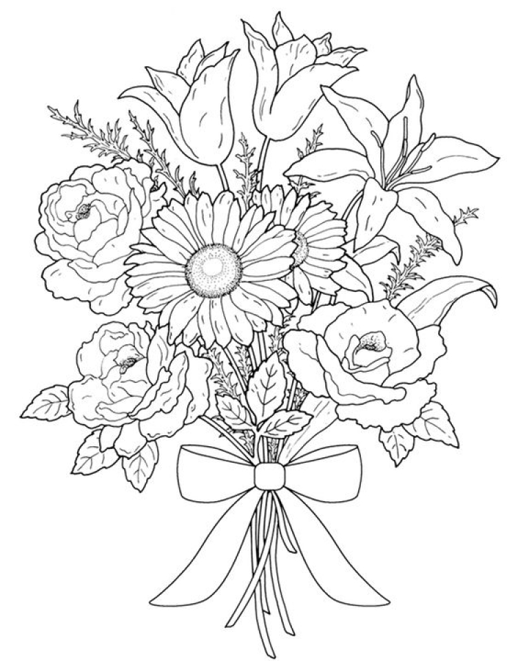 flower bouquet coloring page get this realistic flowers coloring pages for adults 7dg40 flower coloring page bouquet