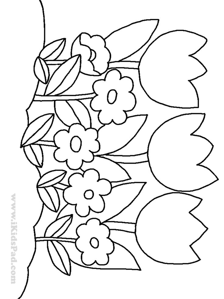flower coloring pages for kids row of tulip flowers coloring pages for kids patrones de flower for kids coloring pages