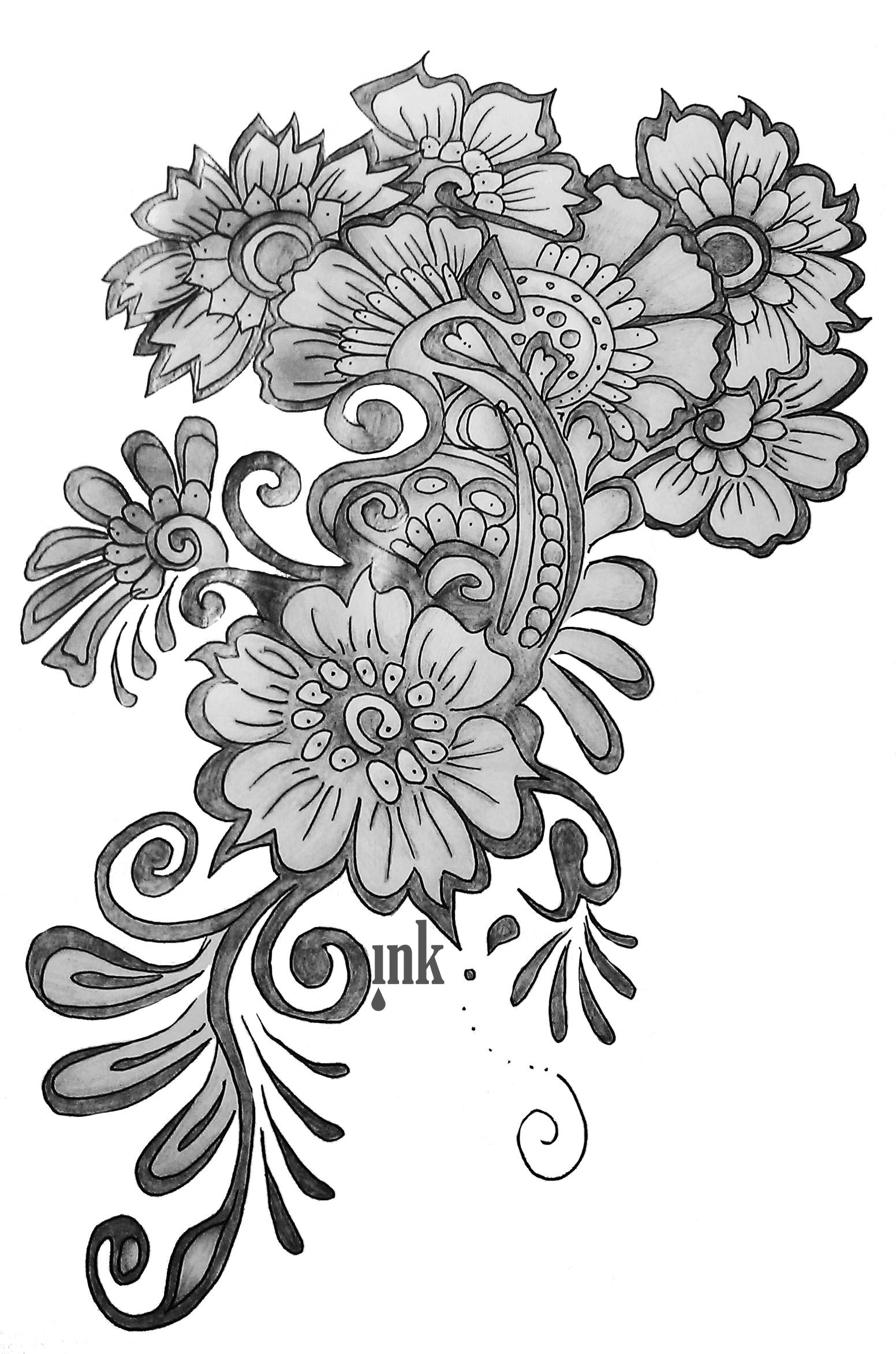 flower drawings free images bunch bundle of flower bouquet black and drawings flower