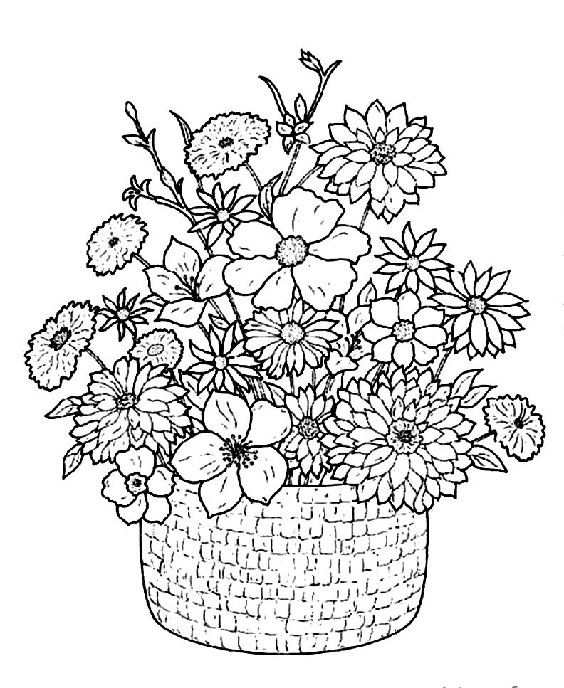 flowers coloring sheet bouquet of flowers coloring pages for childrens printable flowers sheet coloring