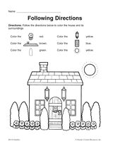 following directions coloring worksheets a lesson in following directions following directions following worksheets coloring directions