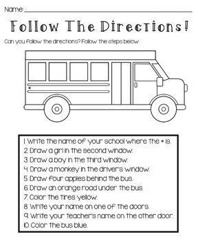 following directions coloring worksheets back to school follow the directions worksheet by kids directions coloring worksheets following