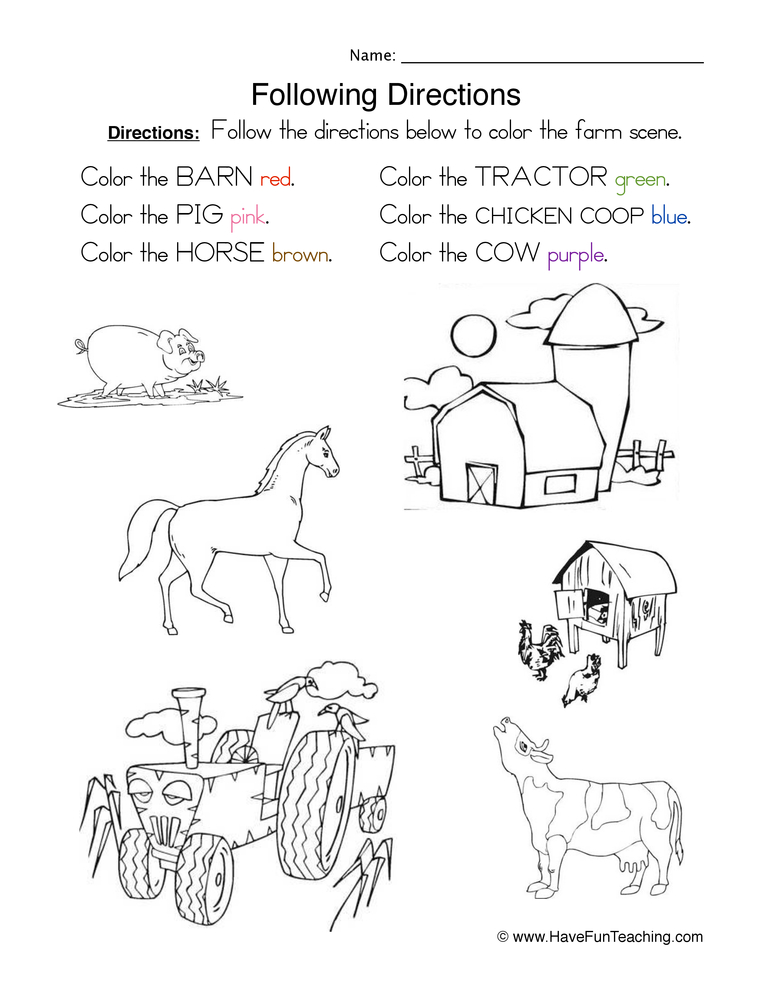 following directions coloring worksheets following directions coloring worksheet have fun teaching following coloring worksheets directions