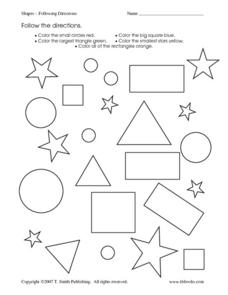 following directions coloring worksheets shapes following directions worksheet for kindergarten coloring following worksheets directions