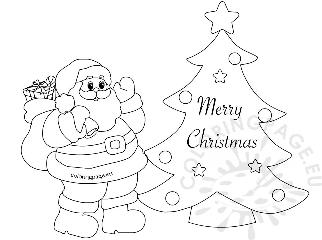 free coloring christmas cards merry christmas card with cute santa coloring page free christmas cards coloring