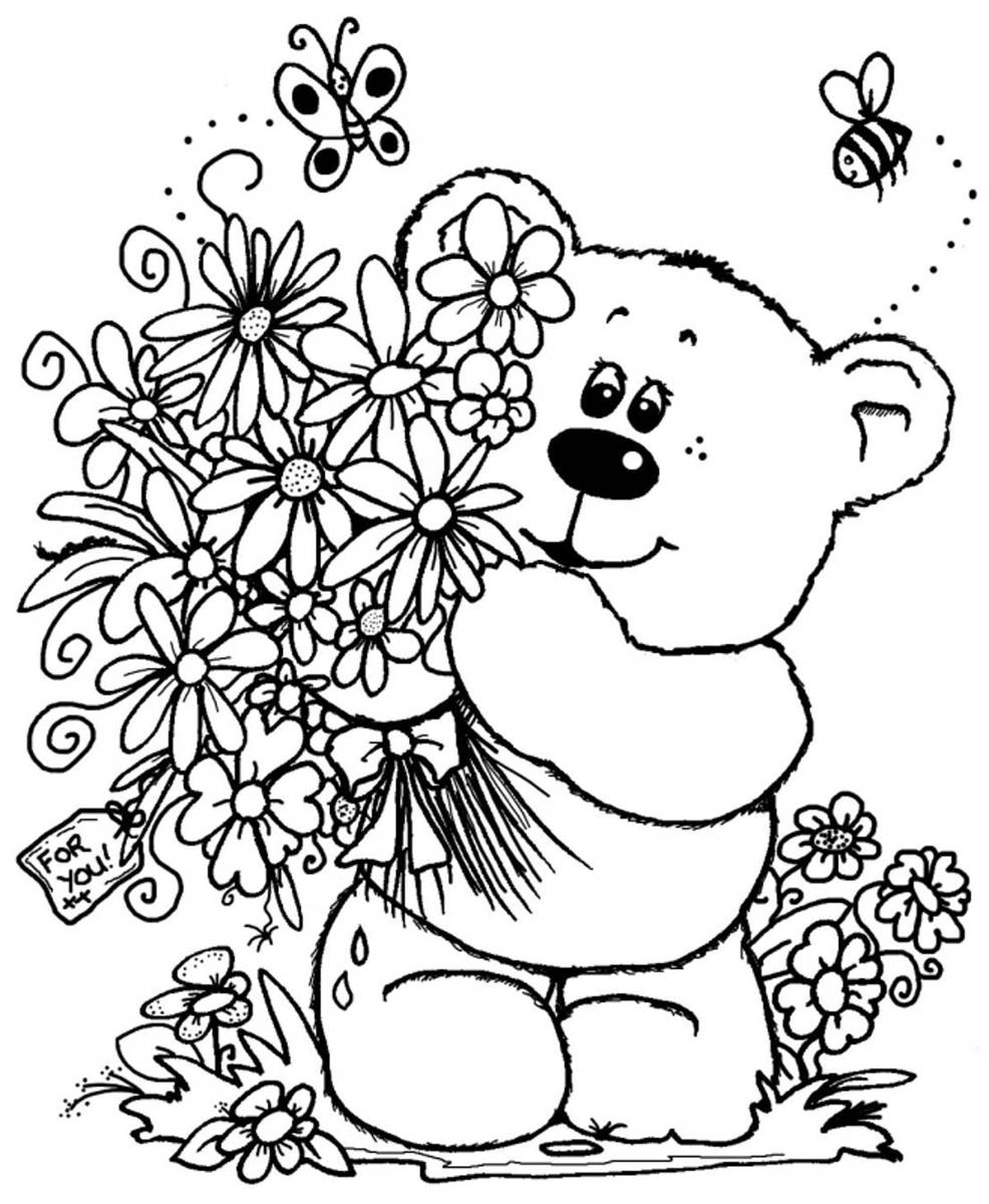 free printable flower coloring pages bouquet of flowers coloring pages for childrens printable flower free printable coloring pages