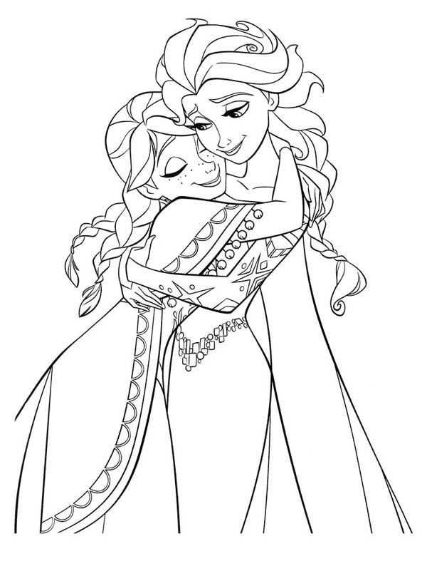 frozen elsa and anna coloring pages anna hugging elsa the snow queen coloring page download frozen pages coloring anna elsa and