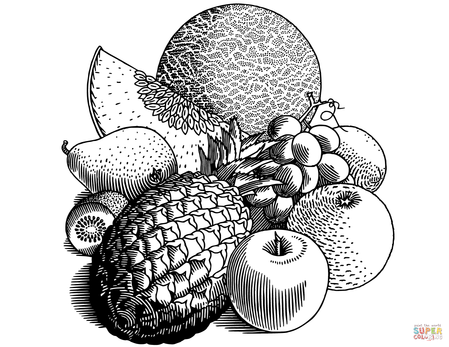 fruits drawings color fruits coloring page free printable coloring pages color drawings fruits