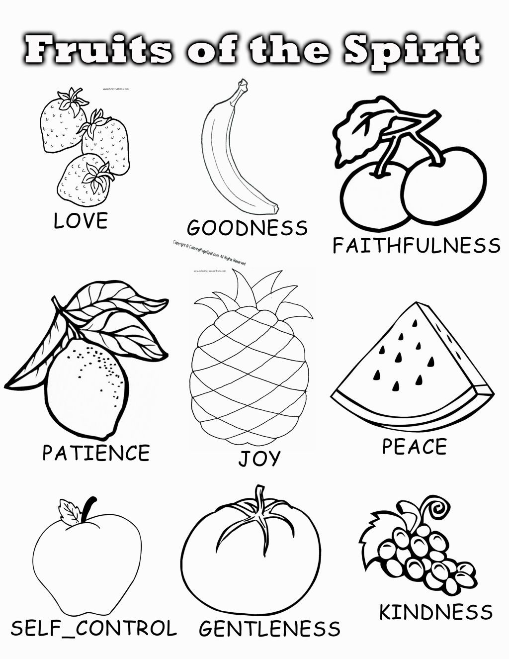 fruits of the spirit coloring pages fruit of the spirit coloring pages printable fruit of of pages fruits coloring spirit the
