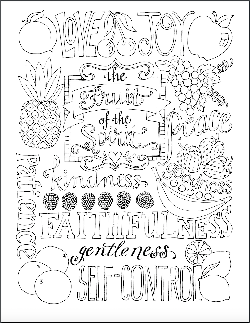 fruits of the spirit coloring pages fruit of the spirit colouring page from eh kids eastern of coloring the spirit pages fruits