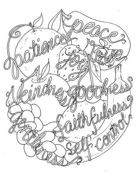 fruits of the spirit coloring pages the fruit of the spirit coloring page in three sizes 85x11 pages coloring spirit fruits of the