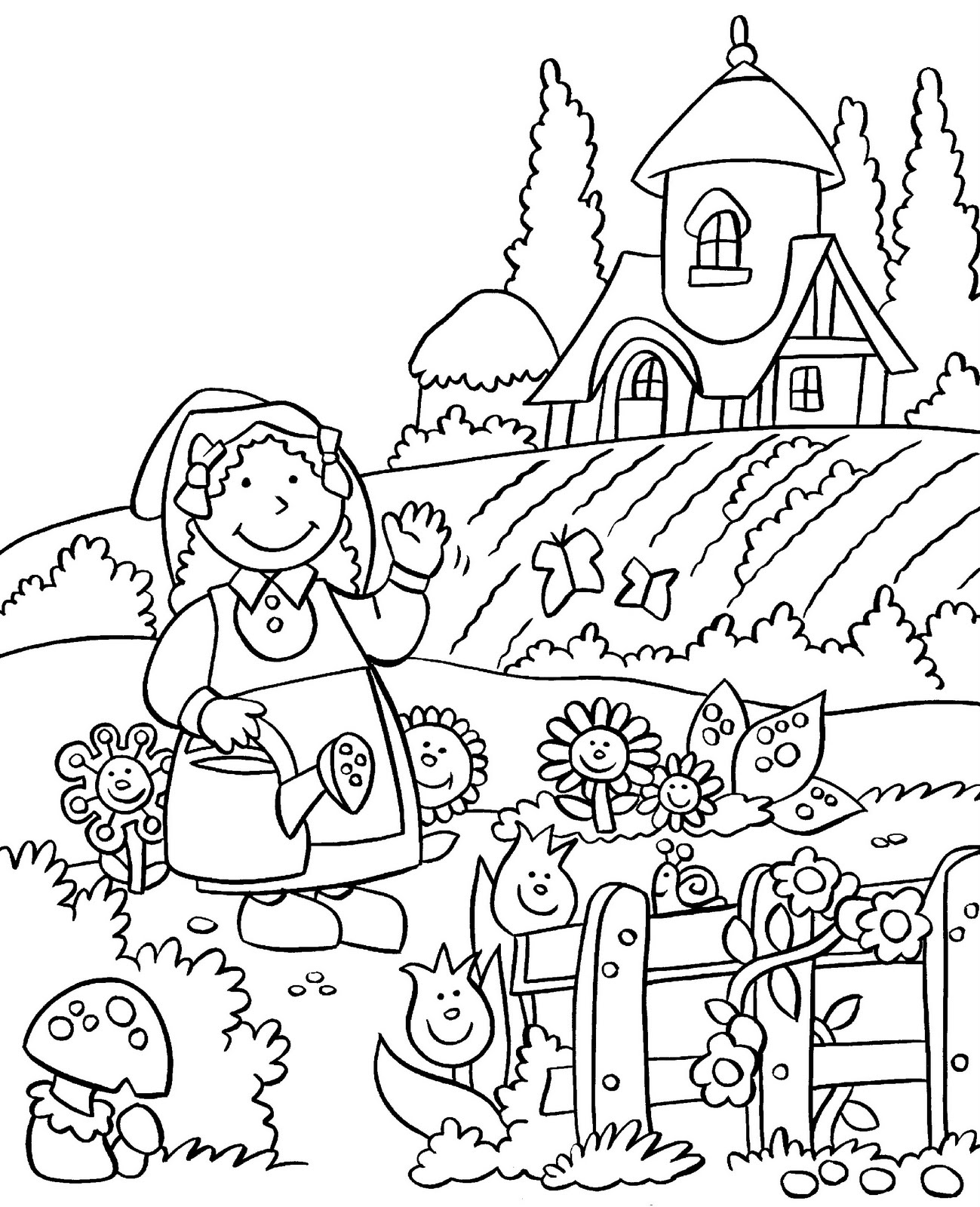 garden coloring gardening coloring pages to download and print for free garden coloring