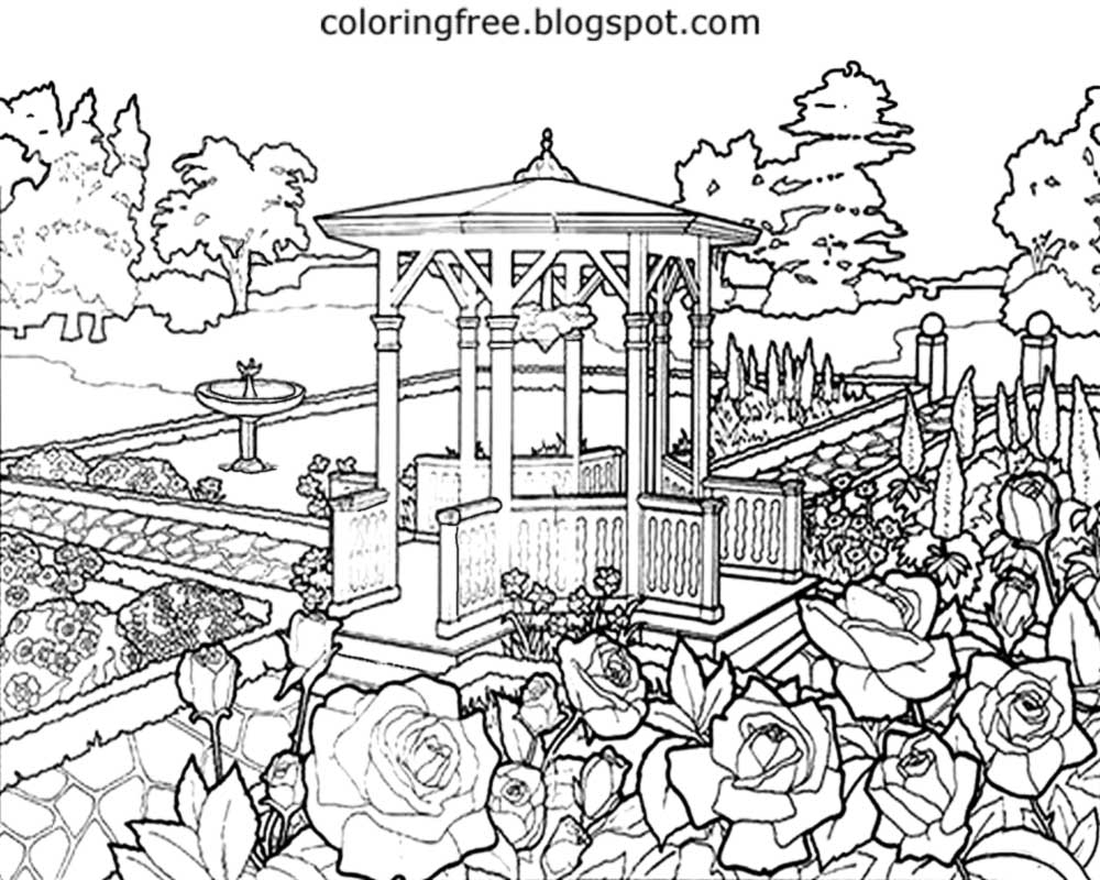 garden coloring japanese garden drawing at getdrawings free download garden coloring
