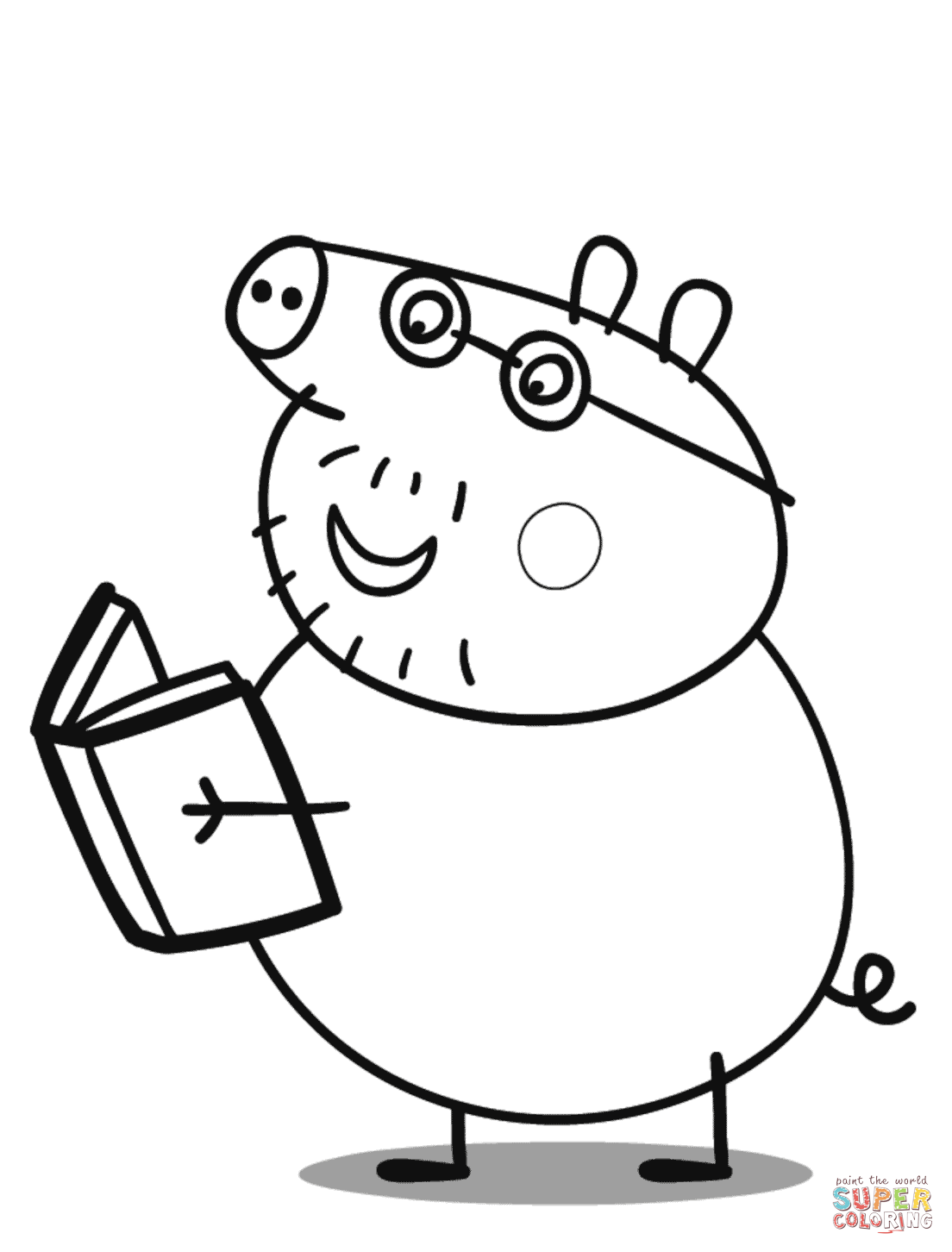 george pig colouring daddy pig reads a book coloring page free printable colouring pig george