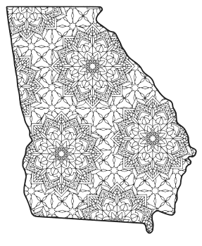 georgia state seal coloring page georgia map outline printable state shape stencil state page coloring seal georgia
