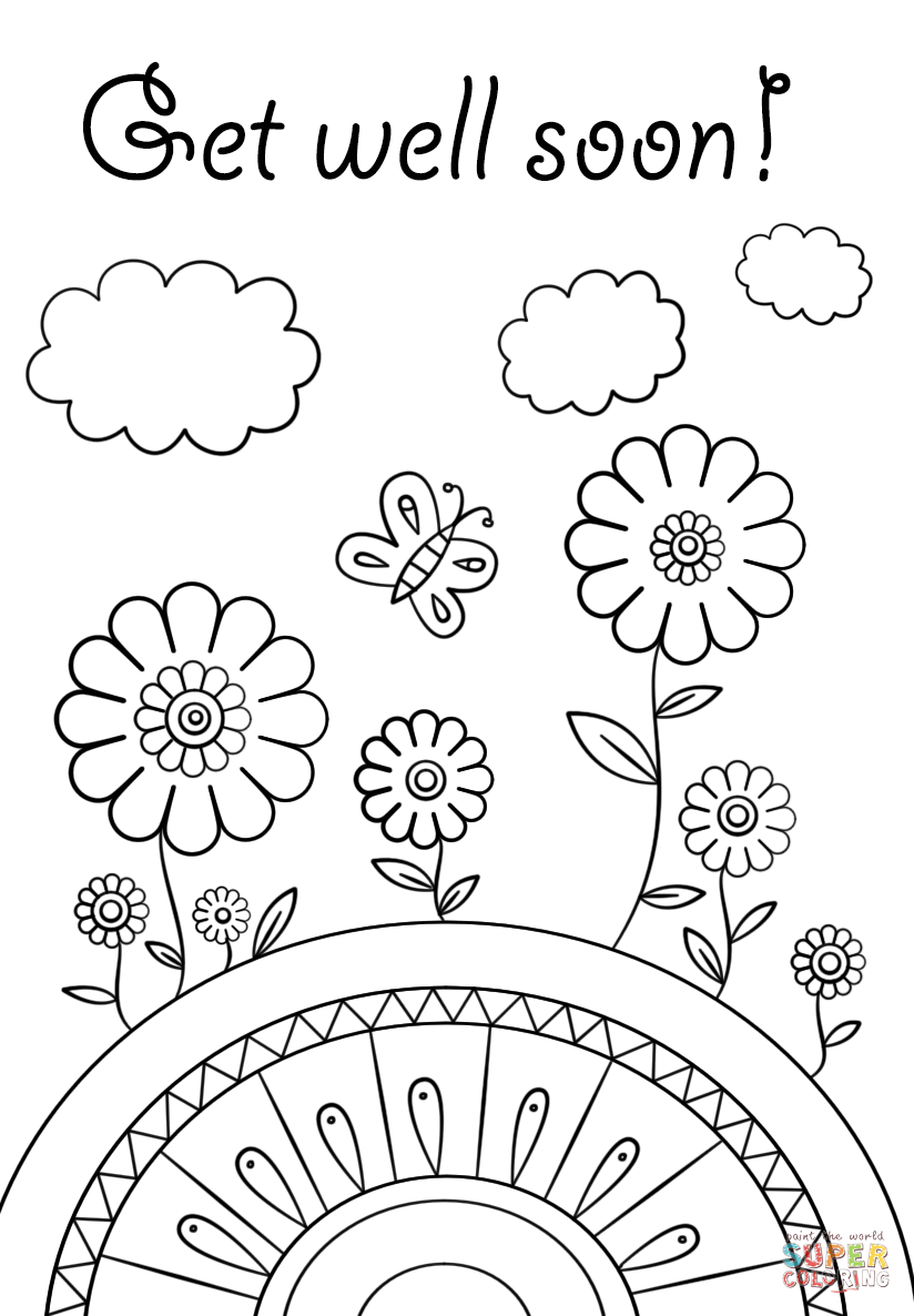 get well soon printable coloring cards get well soon doodle coloring page free printable well get printable soon coloring cards
