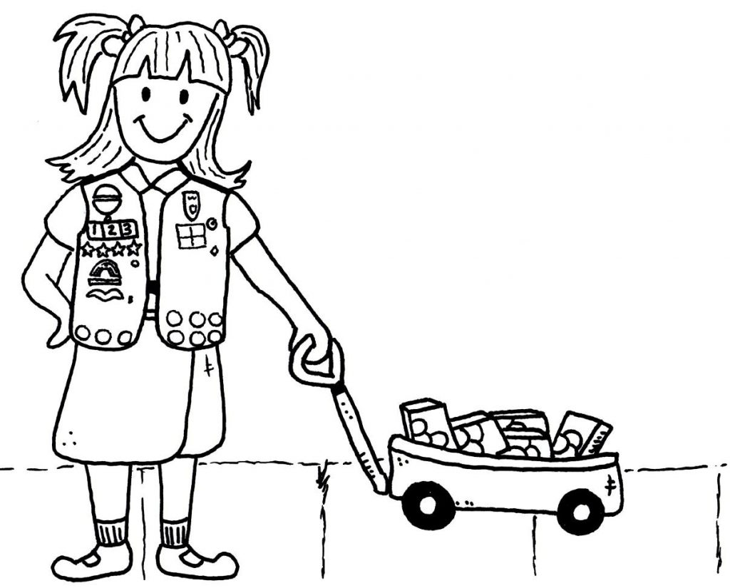 girl scout cookie coloring pages girl scout cookie drawing at getdrawings free download pages girl cookie scout coloring