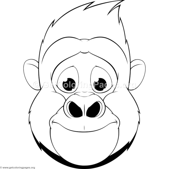 gorilla face coloring pages gorilla animal face mask coloring pages free instant face gorilla pages coloring