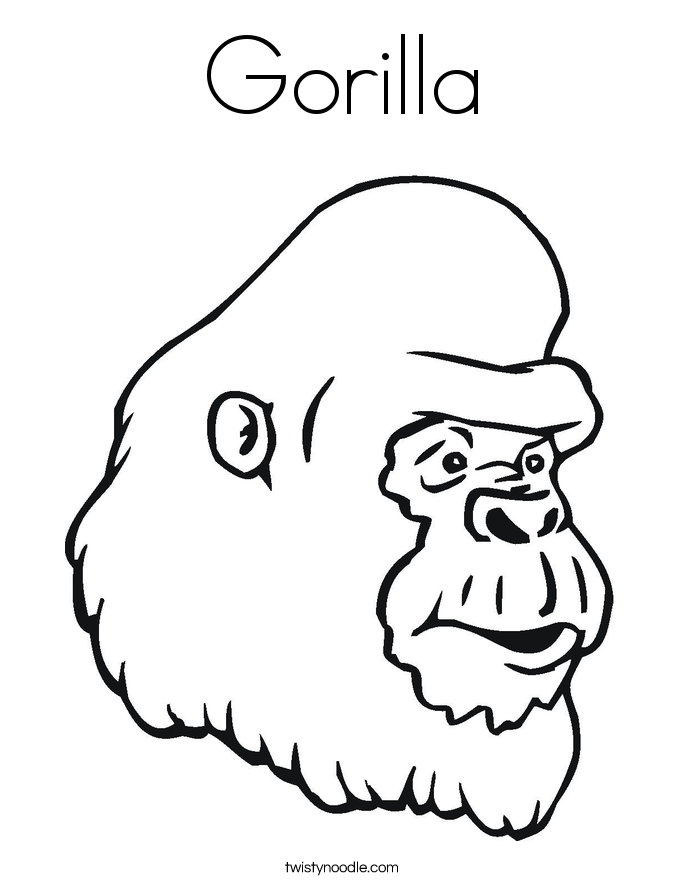 gorilla pictures to print gorilla coloring page twisty noodle gorilla to print pictures