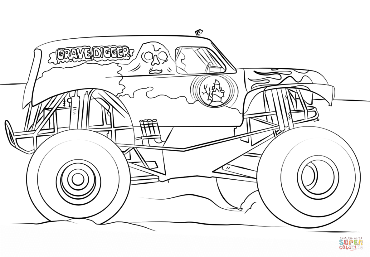 grave digger coloring page grave digger coloring page coloring pages for kids grave digger coloring page