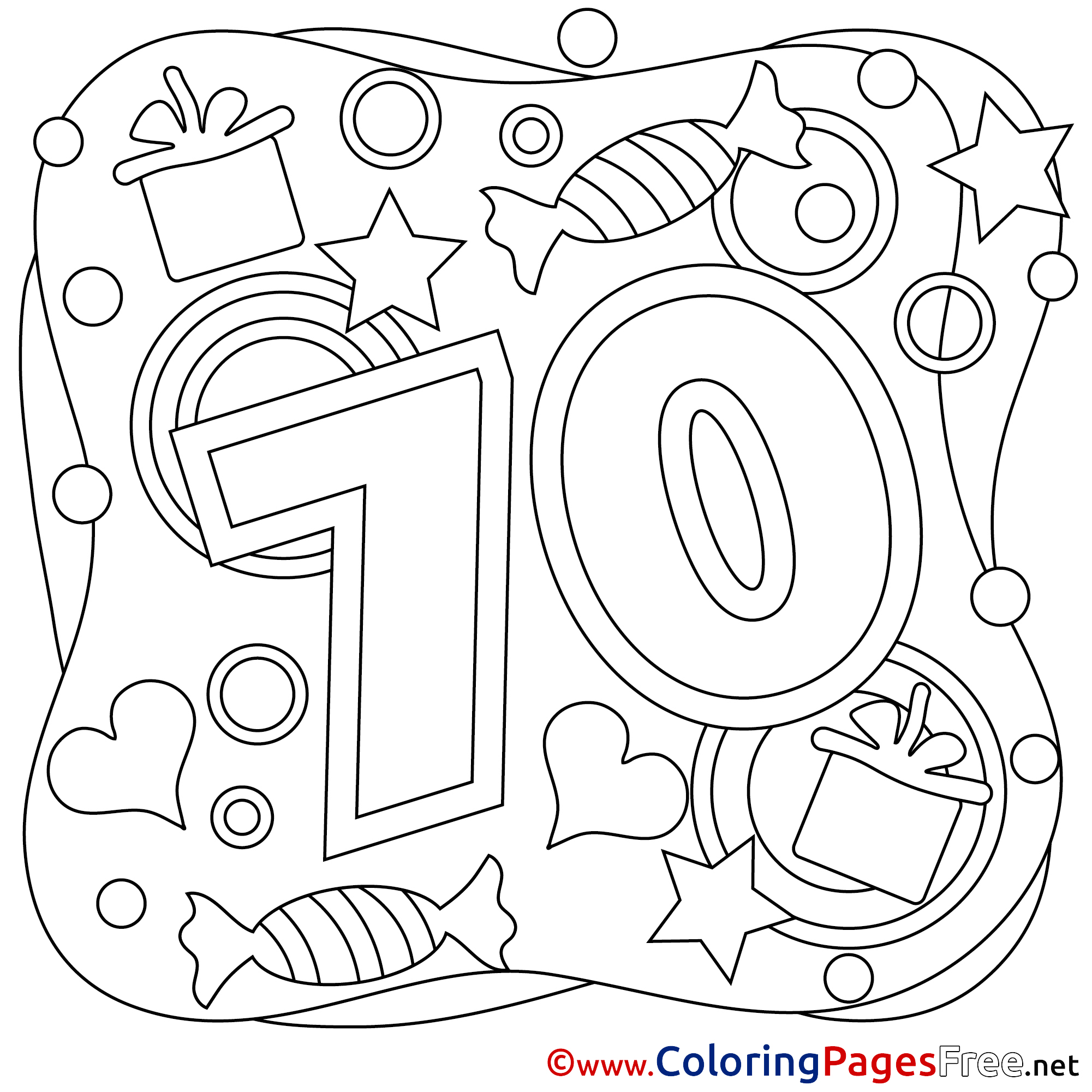 happy 70th birthday coloring pages 70 years balloons printable happy birthday coloring sheets birthday coloring 70th pages happy