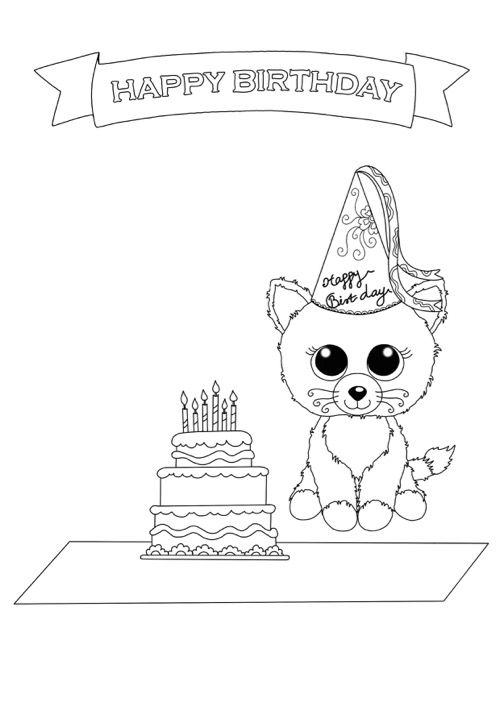 happy birthday cat coloring page beanie boo coloring pages birthday cat free downloadable coloring birthday page happy cat