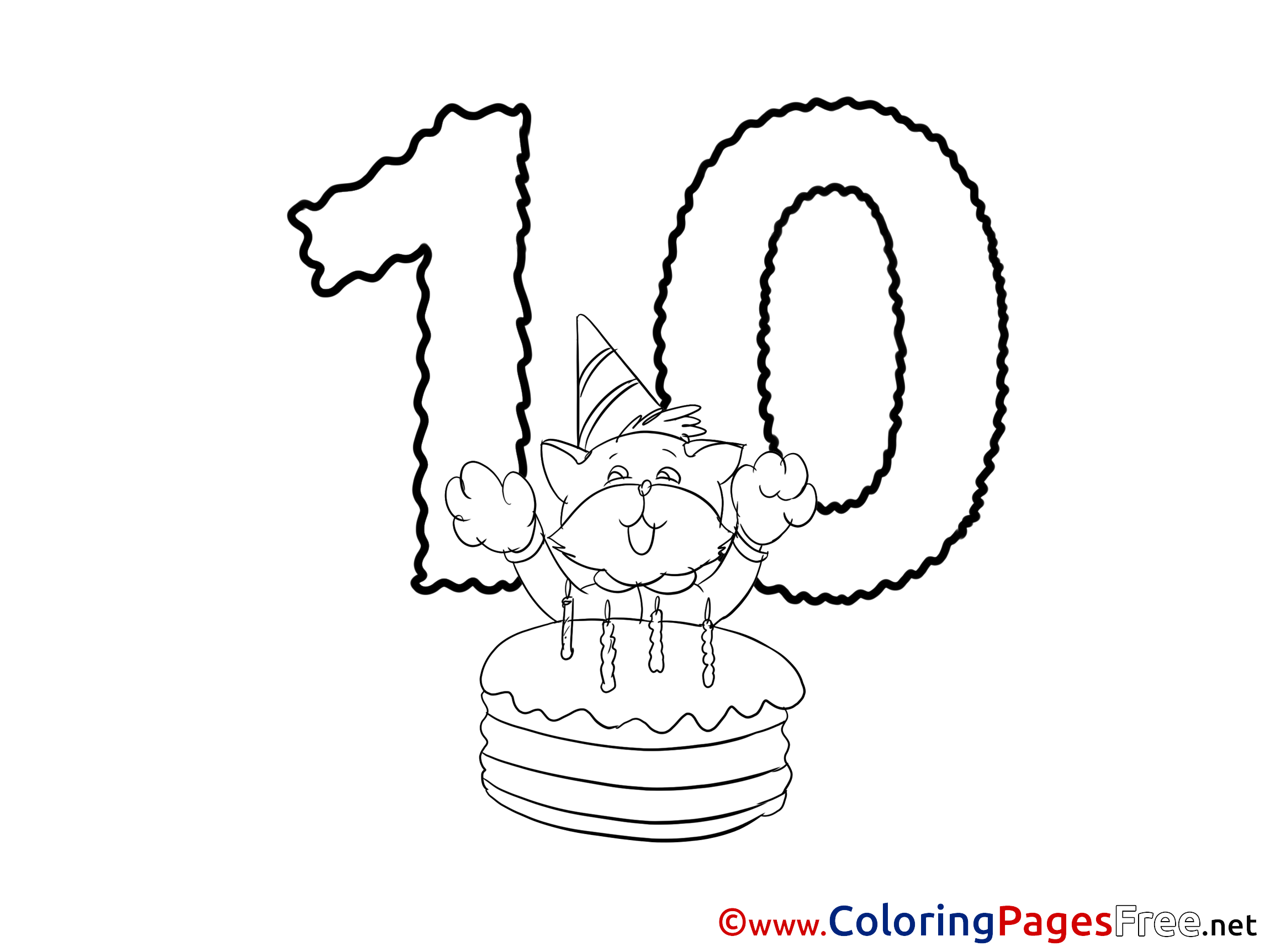 happy birthday cat coloring page cat 10 years happy birthday colouring sheet free cat happy coloring page birthday