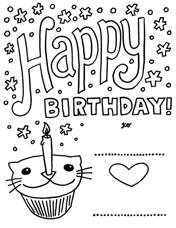 happy birthday cat coloring page happy birthday catcupcake aaliyah stuff happy birthday birthday happy page cat coloring