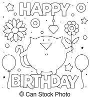 happy birthday cat coloring page happy birthday sign coloring page black and white cartoon happy cat coloring page birthday