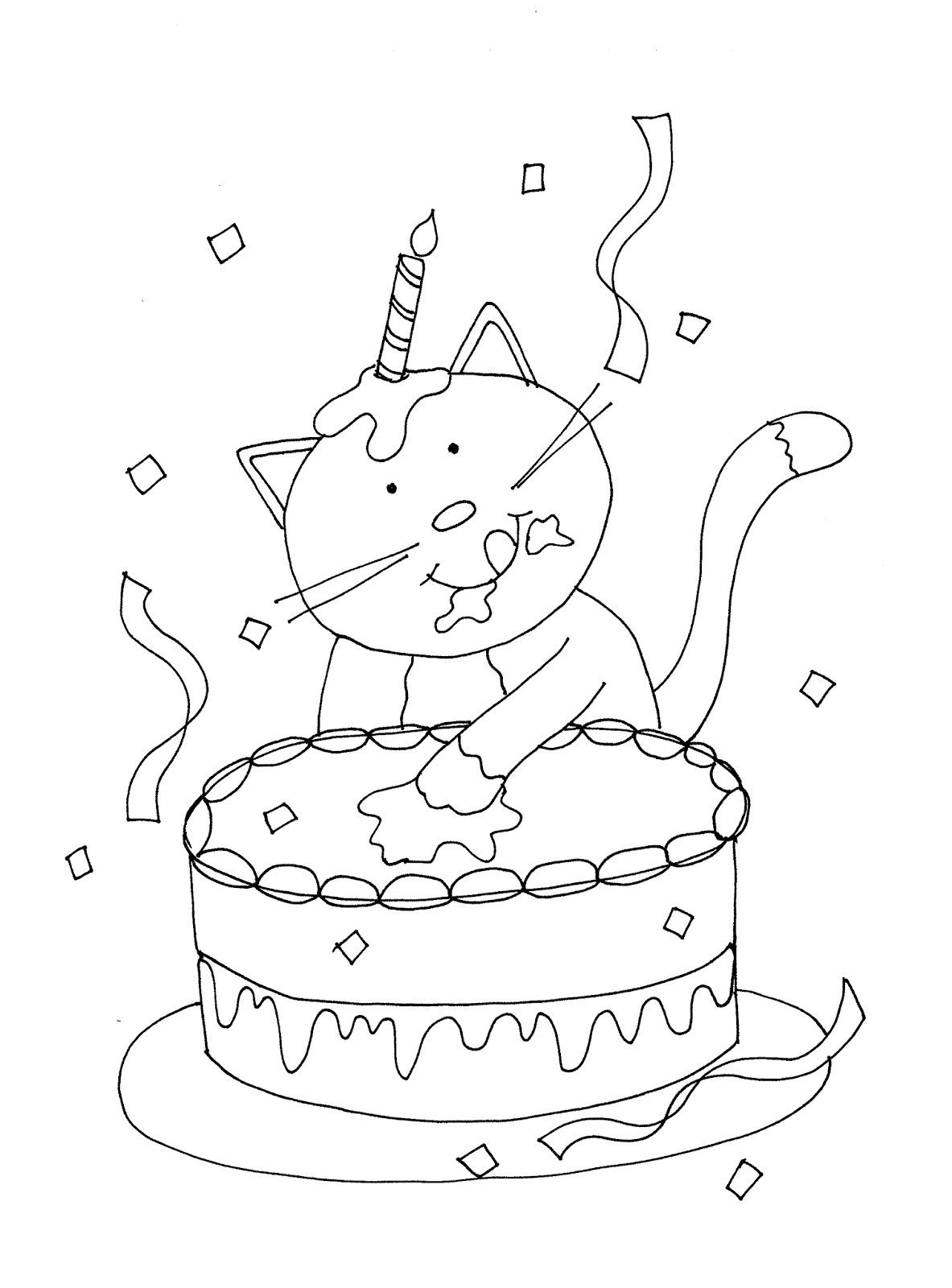 happy birthday cat coloring page pin by kitcat on creative inklings digi stamps happy cat page birthday happy coloring