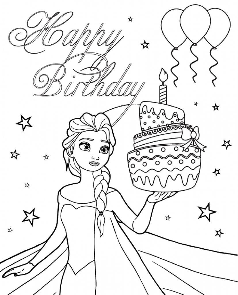 happy birthday disney coloring pages print happy birthday from elsa colouring page coloring coloring pages disney happy birthday
