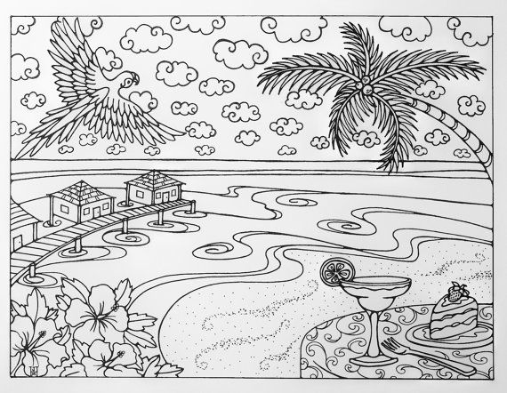 hard beach coloring pages tropical beach vacation adult coloring page by hard coloring pages beach